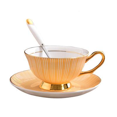 Lekoch Bone China Teacup Saucer Set Coffee Cup Yellow