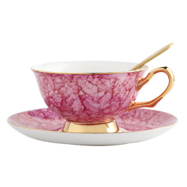 Lekoch Bone China Pink Teacup Saucer Set Coffee Cup European Style