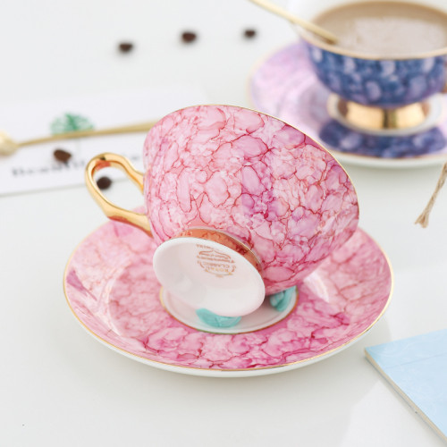 Lekoch Bone China Pink Teacup Saucer Set Coffee Cup European Style