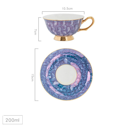 Lekoch Bone China Blue Teacup Saucer Set Coffee Cup European Style