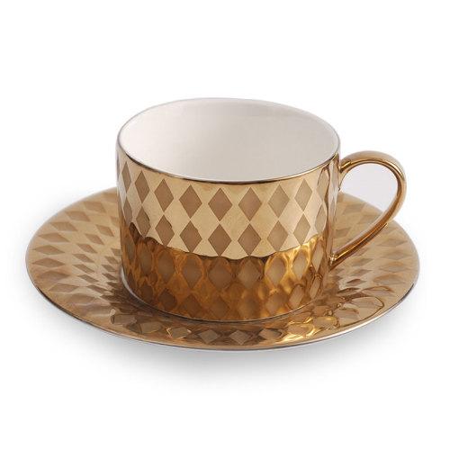 Lekoch Gold Porcelain Teacup Saucer Set Coffee Cup Set