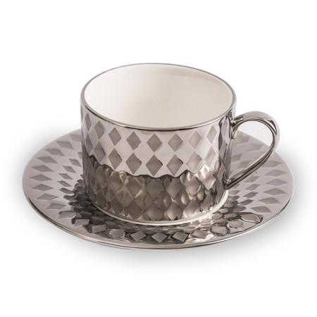 Lekoch Silber Porzellan Teetasse Untertasse Set Kaffeetasse Set