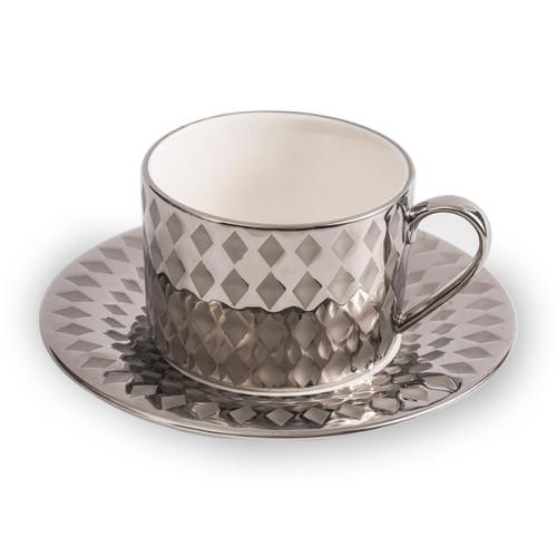 Lekoch Silver Porcelain Teacup Saucer Set Coffee Cup Set