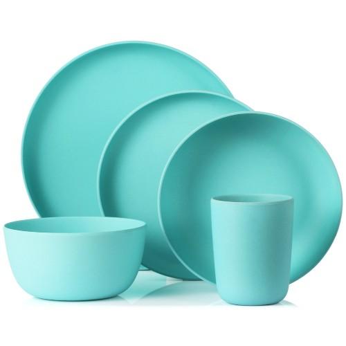 Lekoch Blue Bamboo Dinnerware Set Dinner Salad Plate 5PCS