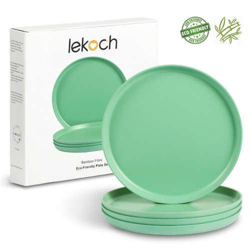 Lekoch Eco Friendly Green 4 PCS Bamboo Tableware Set Dinner Plates