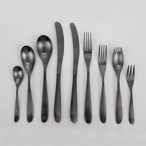 Lekoch Black Stainless Steel Cutlery Set Wholesale