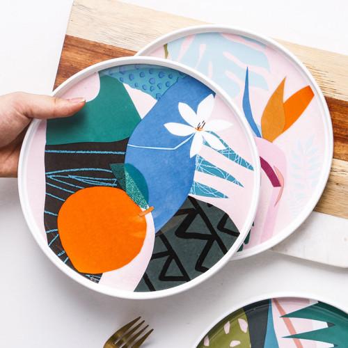 Lekoch 9 inch Color Blocking Dinner Round Plates