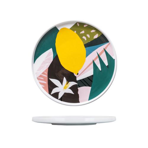 Lekoch Ceramic Dishes Color Blocking Dinner Plates--leaf C