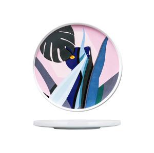 Lekoch Ceramic Dishes Color Blocking Dinner Plates --leaf b