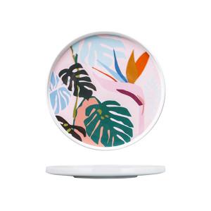 Lekoch Ceramic Dishes Color Blocking Dinner Plates 22.6cm