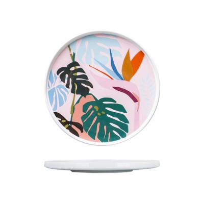 Lekoch Ceramic Dishes Color Blocking Dinner Plates -leaf A