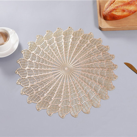 Lekoch 6PCS Gold Round Placemat Dining Table Mat Bowl Pads Set