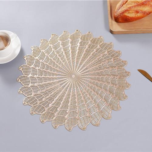 Lekoch 6PCS Gold Round Placemat Dining Table Mat Bowl Pads Set
