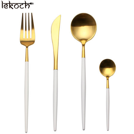 LEKOCH 4 PCS 18/10 Stainless-steel Flatware Set Portugal Classical GOLD&WHITE