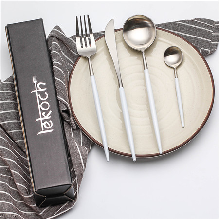 LEKOCH 4 PCS 18/10 Stainless Steel Flatware Set Portugal Classical SILVER&WHITE
