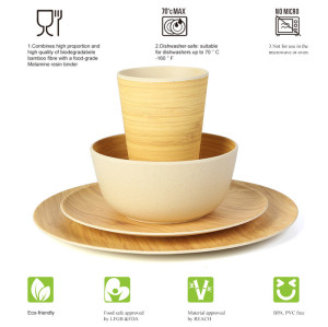 Lekoch Biodegradable & Eco Friendly Bamboo Fiber Dinnerware Set Tableware 4pcs