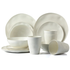 Lekoch® 16pcs Simulation ceramics  Bamboo Fiber Dinnerware Set for 4
