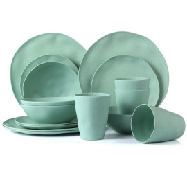 Lekoch® 16pcs Simulation ceramics green Bamboo Fiber Dinnerware Set for 4