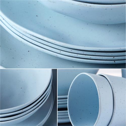 Lekoch® 16pcs Simulation ceramics blue Bamboo Fiber Dinnerware Set for 4