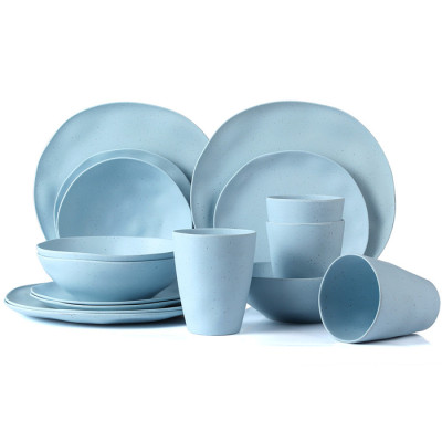 Lekoch® 16pcs Simulation ceramics blue Bamboo Fiber Dinnerware Set for 4