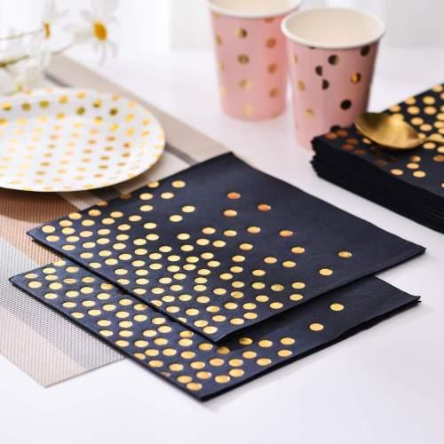 Lekoch Air-laid Disposables Paper Black with Gold Dots Napkins 50PCS