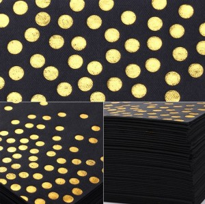 Lekoch Air-laid Disposables Paper Black with Gold Dots Napkins 50PCS