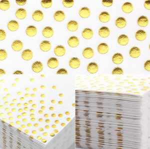 Lekoch Air-laid Disposables Paper White with Gold Dots Napkins 50PCS