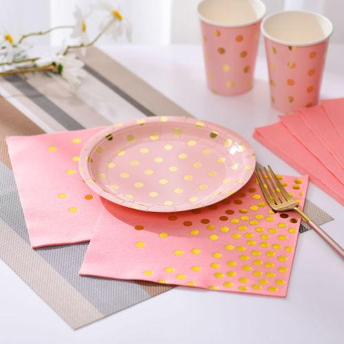 Lekoch Air-laid Disposables Paper Pink with Gold Dots Napkins 50PCS