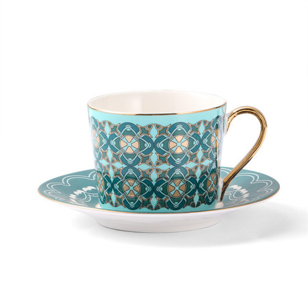 Lekoch Lack Blue Bone China Teacup Saucer 2 Set