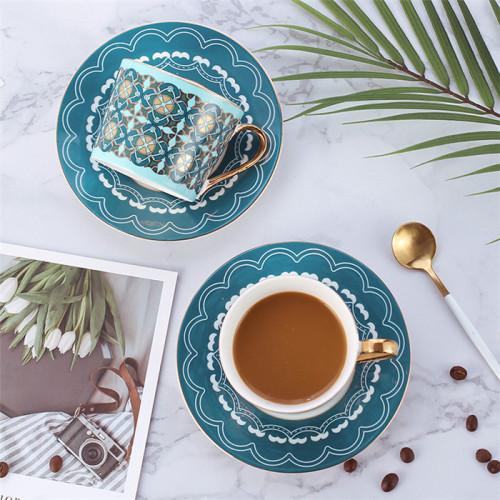 Lekoch Lack Blue Bone China Teacup Saucer 2 Set