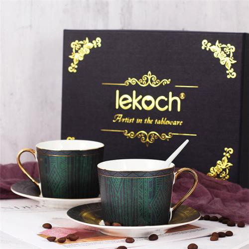 Lekoch Deep Green  Bone China Teacup Saucer 2 Set