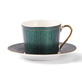Lekoch Deep Green  Bone China Teacup Saucer 2 Set