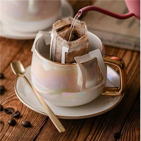 Lekoch Aurora pearl glaze  Bone China Teacup Saucer  Set