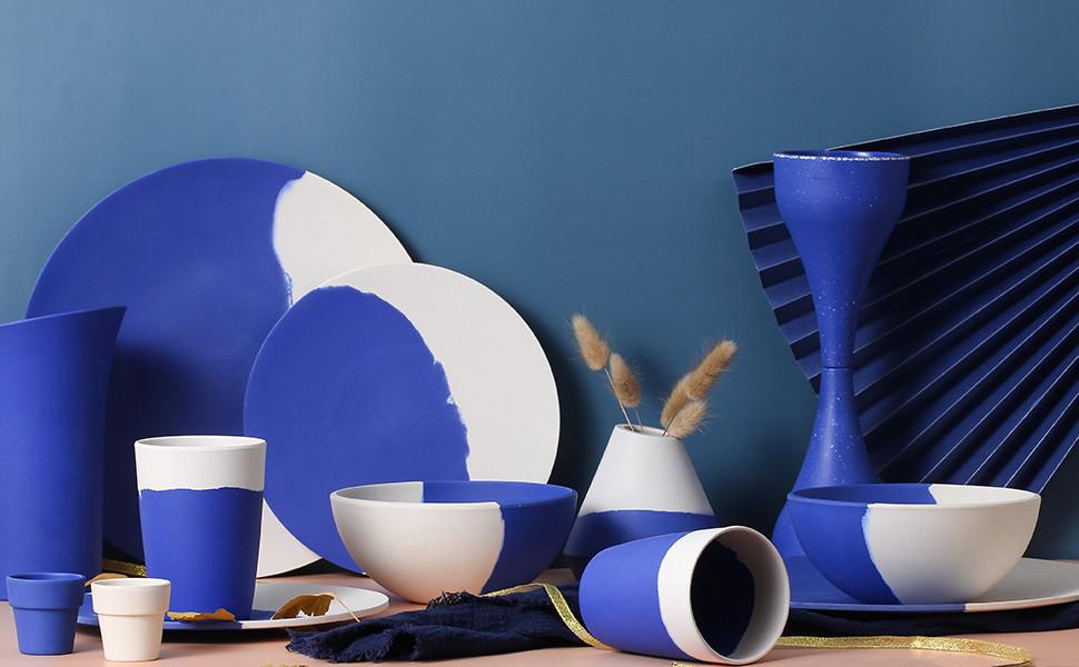 blue bamboo fiber dinnerware