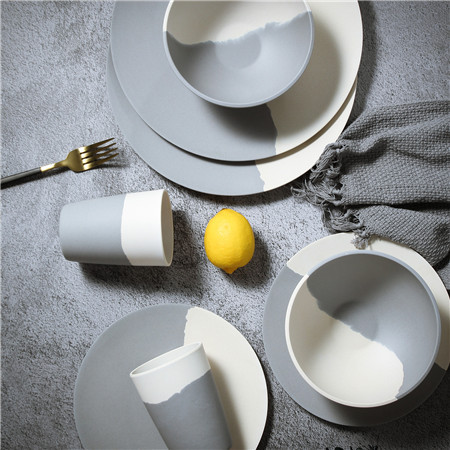 Lekoch® Harmony Series Grey and Beige Bamboo Fiber Dinnerware Set for 2