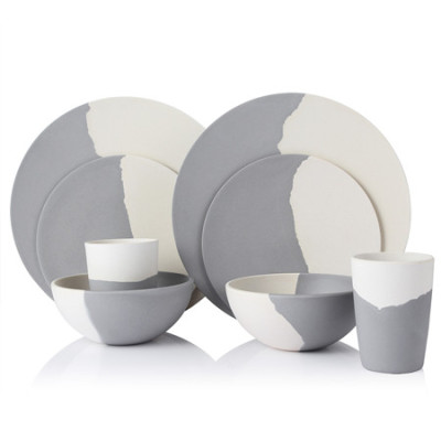 Lekoch® Harmony Series Grey and Beige Bamboo Fiber Dinnerware Set for 2