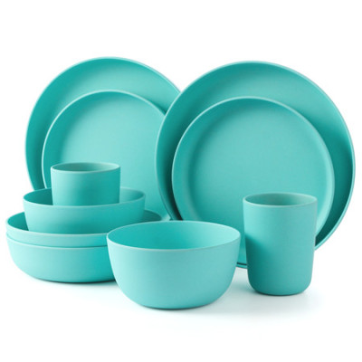 Lekoch Blue Bamboo Dinnerware Set for 2 person 10PCS