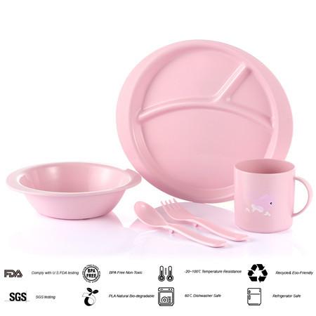 Lekoch biological kids pink baby dinnerware