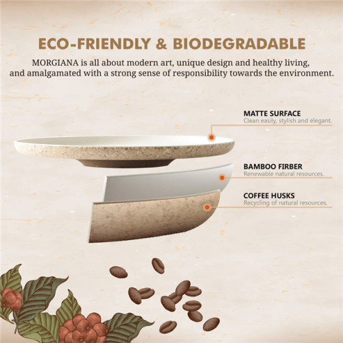 2 Pieces Coffee Husk Dinner Plates Eco Friendly Bamboo Plates Set