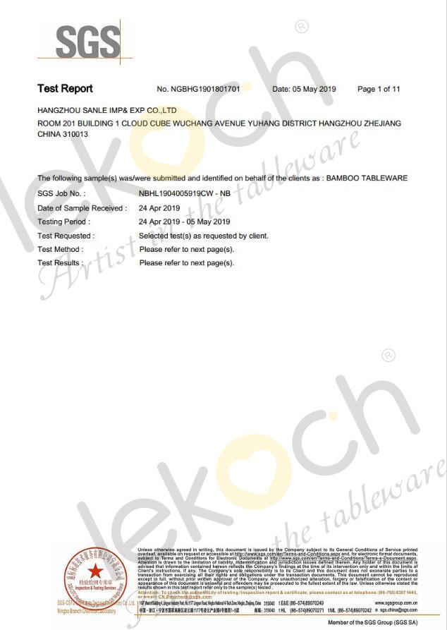 The LFGB and EU certificates of Lekoch bamboo dinnerware set