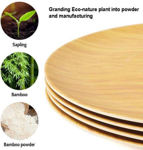 Lekoch Eco Friendly Bamboo Fiber Dinnerware Set Dinner Plates 4pcs