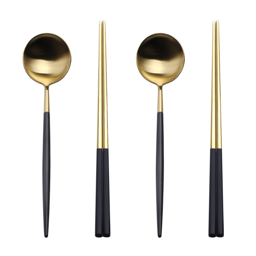 2set Black and gold spoon with chopstick