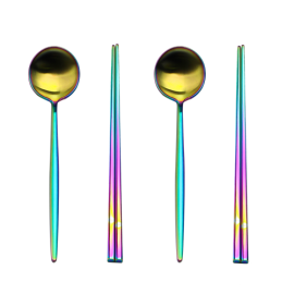 2set colorful rainbow  spoon with chopstick