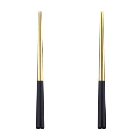 5pair gold with black chopsticks set Korean Household Metal square chopsticks Food grade top Chinese tableware Flatware