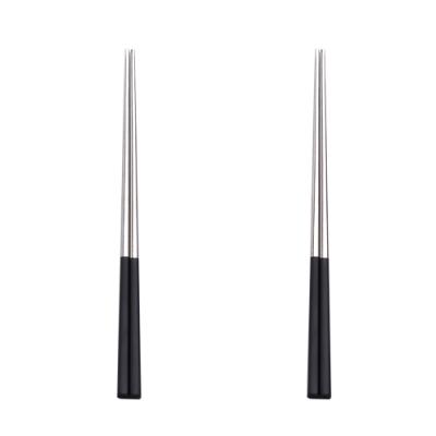 5pair silver with black chopsticks set Korean Household Metal square chopsticks Food grade top Chinese tableware Flatware