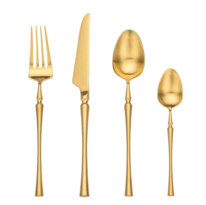 4pcs Azure Dragon Gold Cutlery Set