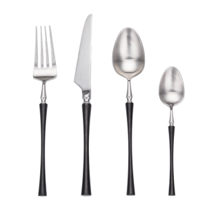4pcs Azure Dragon Silver with black  Cutlery Set