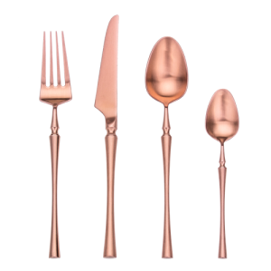 4pcs Azure Dragon Rose Gold Cutlery Set
