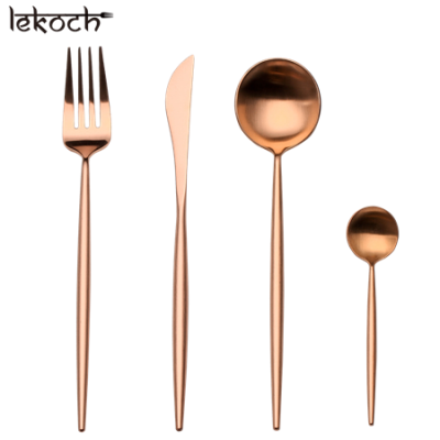 LEKOCH 4 PCS 18/10 Stainless-steel Flatware Set Portugal Classical ROSE GOLD