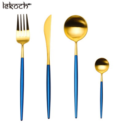 LEKOCH 4 PCS 18/10 Stainless-steel Flatware Set Portugal Classical GOLD&BLUE